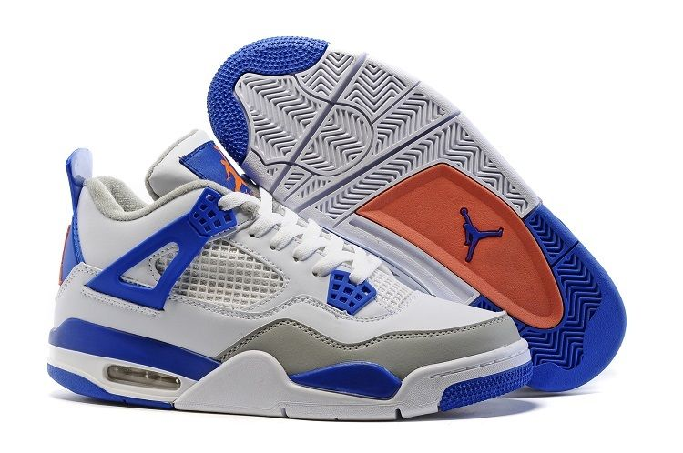 Wholesale Cheap 2016 Air Jordan 4 Knicks White Hyper Orange-Deep Royal Blue-Wolf Grey - www.wholesaleflyknit.com