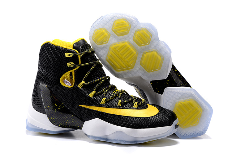 Wholesale Cheap 2016 Nike LeBron 13 Elite Black Yellow-White Basketball Shoes - www.wholesaleflyknit.com