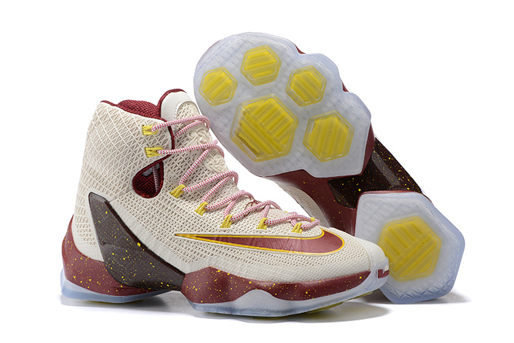 Wholesale Cheap 2016 Nike LeBron 13 Elite Cavs White Wine Red Yellow Basketball Shoes - www.wholesaleflyknit.com