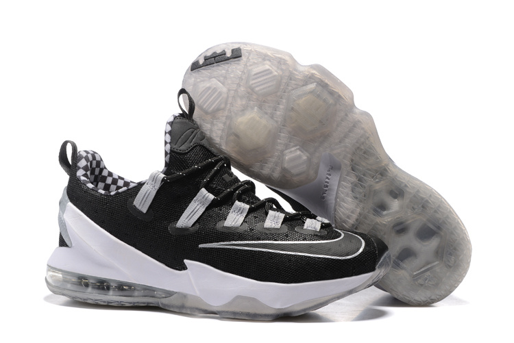 Wholesale Cheap 2016 Nike LeBron 13 Low Black Silver For Sale - www.wholesaleflyknit.com