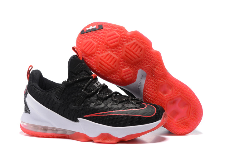 Wholesale Cheap 2016 Nike LeBron 13 Low Bred Black University Red-White For Sale - www.wholesaleflyknit.com
