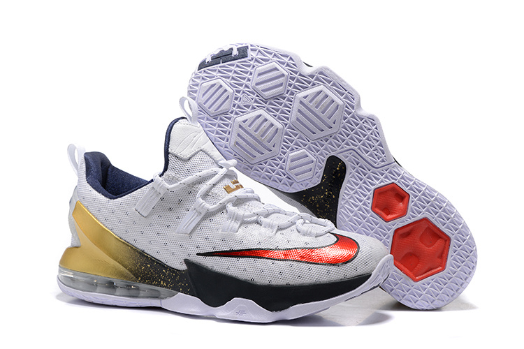 Wholesale Cheap 2016 Nike LeBron 13 Low USA Olympic White University Red-Obsidian-Metallic Gold - www.wholesaleflyknit.com