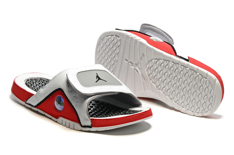 Wholesale Cheap 2017 Air Jordan Hydro 13 Retro Slide White Black True Red Cement Grey - www.wholesaleflyknit.com