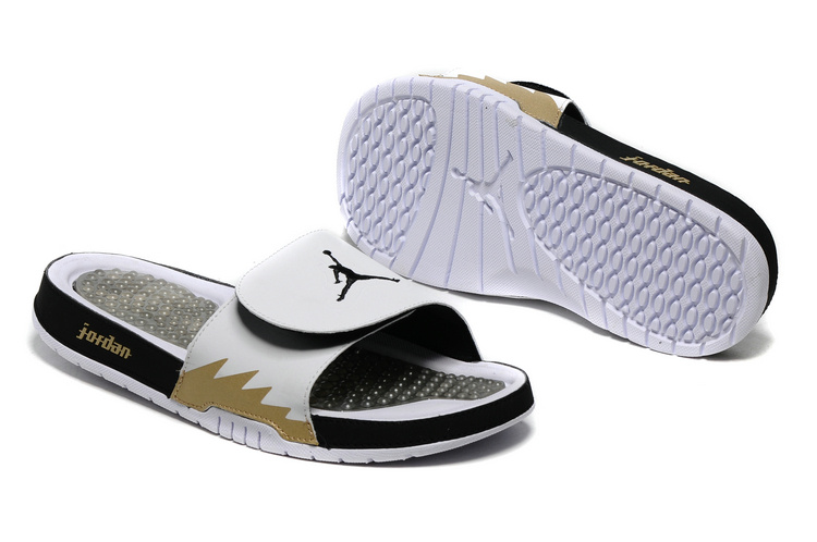 Wholesale Cheap 2017 Air Jordan Hydro 5 Retro Slide White Black Gold Slide Sandals - www.wholesaleflyknit.com