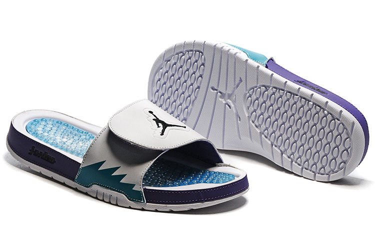 Wholesale Cheap 2017 Air Jordan Hydro 5 Retro Slide White Blue Purple Slide Sandals - www.wholesaleflyknit.com