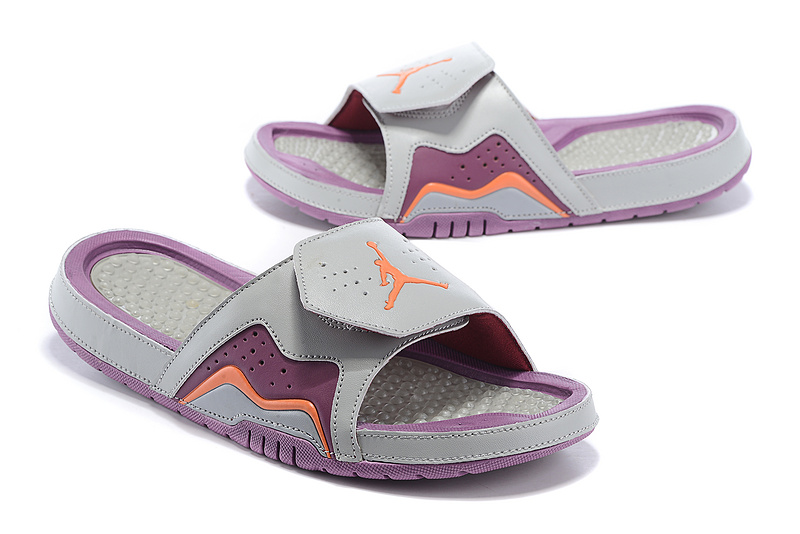 Wholesale Cheap 2017 Air Jordan Hydro 7 Retro Slide Grey Purple Orange Mens And Girls Shoes - www.wholesaleflyknit.com
