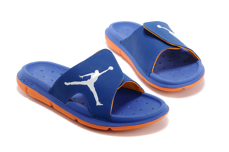 Wholesale Cheap 2017 Air Jordan Hydro Retro Slide French Blue Orange White For Sale - www.wholesaleflyknit.com