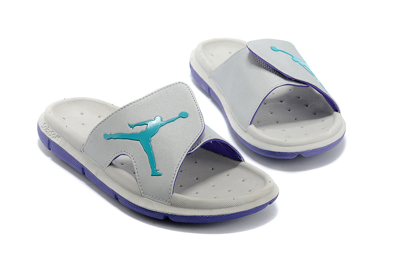 Wholesale Cheap 2017 Air Jordan Hydro Retro Slide Grey Blue Green For Sale - www.wholesaleflyknit.com