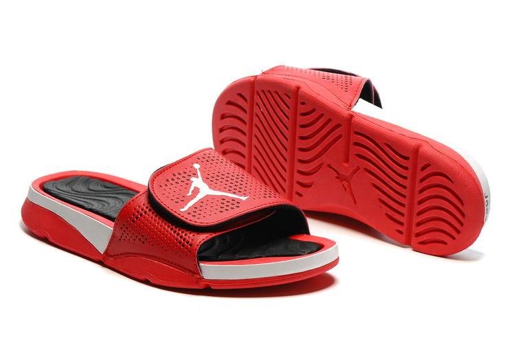 Wholesale Cheap 2017 Air Jordan Hydro V Retro Slide Red White Black For Salev - www.wholesaleflyknit.com