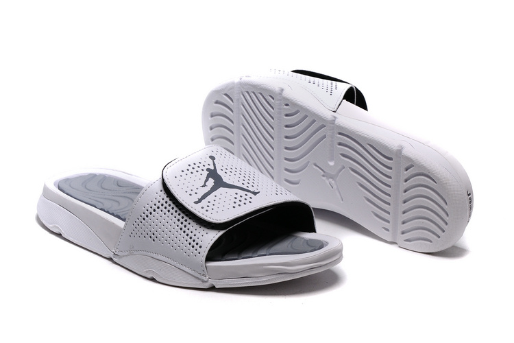 Wholesale Cheap 2017 Air Jordan Hydro V Retro Slide White Silver For Sale - www.wholesaleflyknit.com