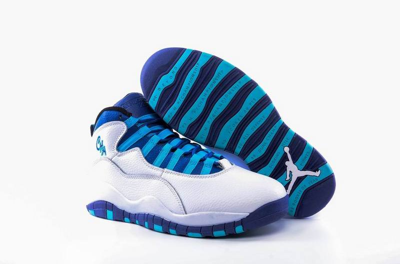 Wholesale Cheap 2017 Air Jordan 10 Charlotte Hornets White Concord-Blue Lagoon-Black - www.wholesaleflyknit.com