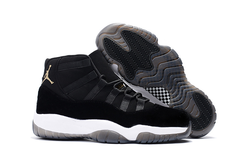 e8064745000 Wholesale Cheap 2017 Air Jordan 11 Black Velvet Black White Gold Shoes For  Sale - www