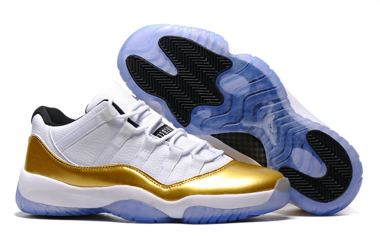 Wholesale Cheap 2017 Air Jordan 11 Low Olympic White Metallic Gold Coin-Black For Sale - www.wholesaleflyknit.com