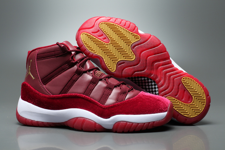 Wholesale Cheap 2017 Air Jordan 11 Red Velvet Night Maroon Metallic Gold-White - www.wholesaleflyknit.com