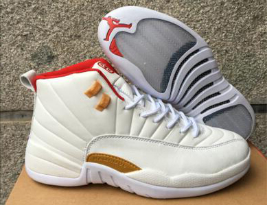 Wholesale Cheap 2017 Air Jordan 12 CNY White Red Gold Shoes for Men - www.wholesaleflyknit.com