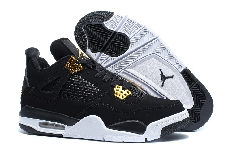 Wholesale Cheap 2017 Air Jordan 4 Royalty Black Metallic Gold-White Sneakers For Sale - www.wholesaleflyknit.com