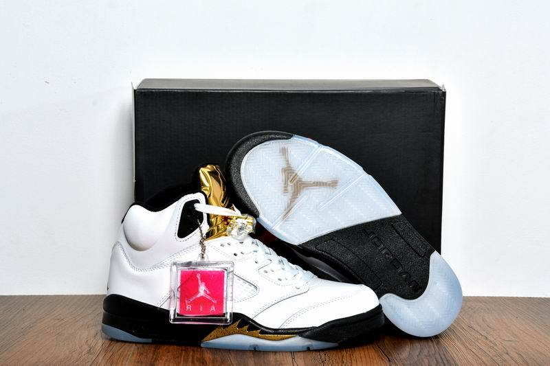 Wholesale Cheap 2017 Girls Air Jordans 5 Olympic Gold Medal White Black-Metallic Gold Coin - www.wholesaleflyknit.com