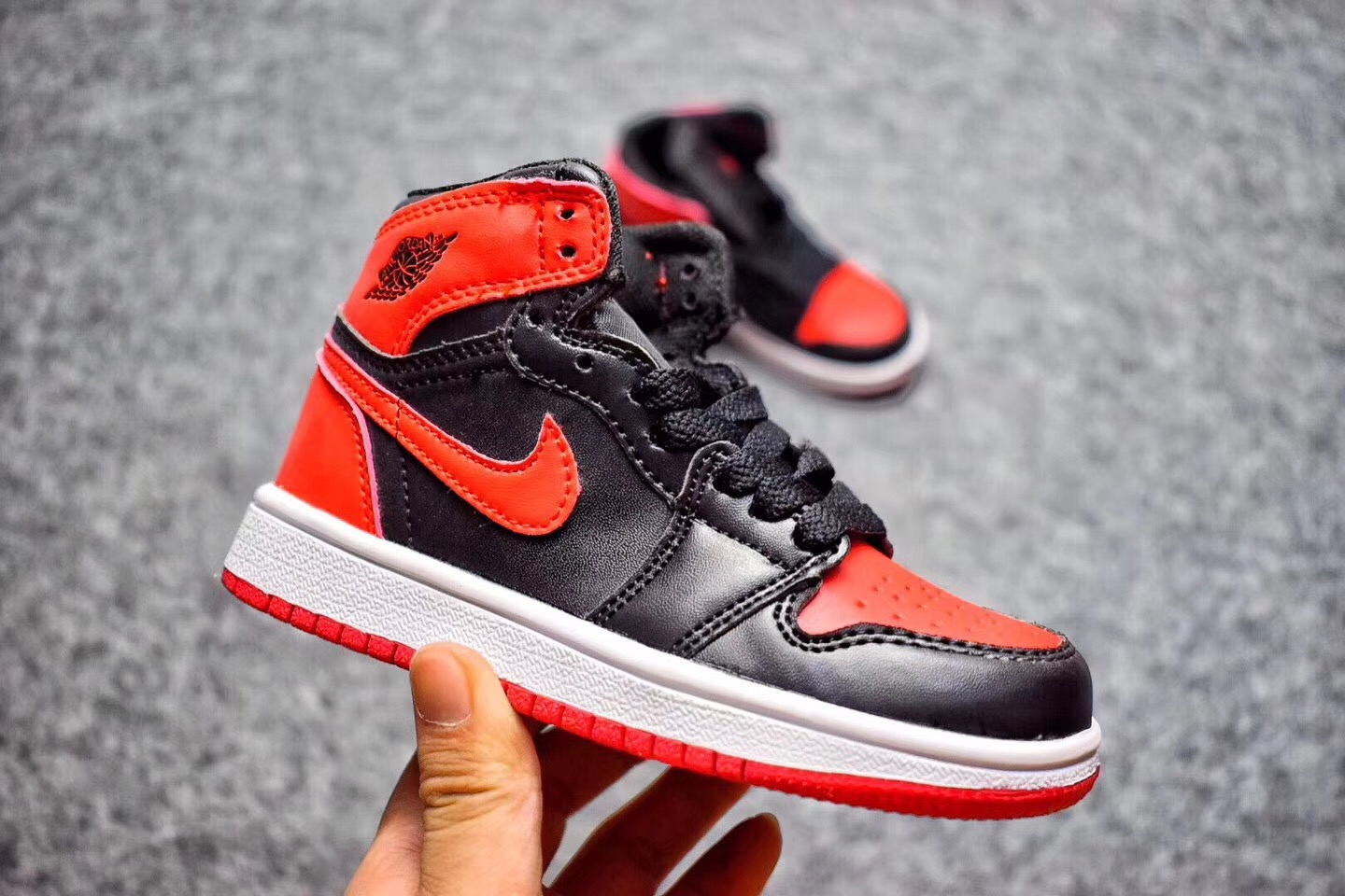 Wholesale Cheap 2017 Kids Air Jordan 1 Banned Black Varsity Red-White For Sale - www.wholesaleflyknit.com