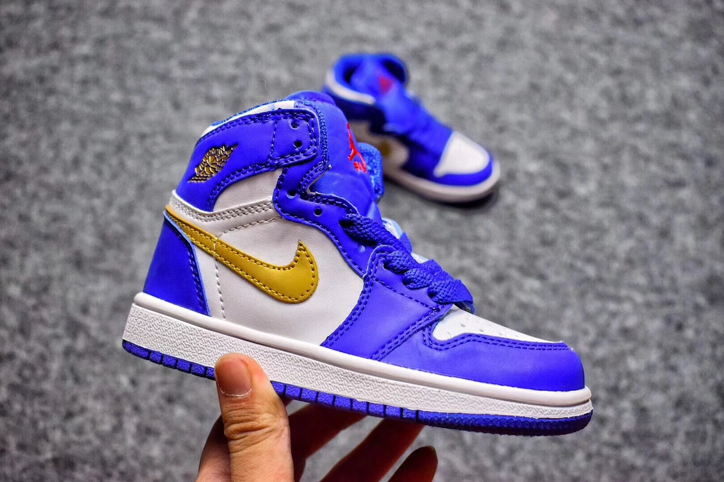 Wholesale Cheap 2017 Kids Air Jordan 1 Royal Blue Metallic Gold-White For Sale - www.wholesaleflyknit.com