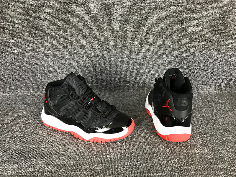 Wholesale Cheap 2017 Kids Air Jordan 11 Black Red Sneakers For Sale - www.wholesaleflyknit.com