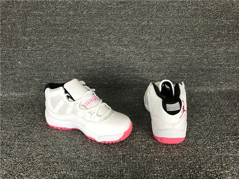 Wholesale Cheap 2017 Kids Air Jordan 11 White Pink Sneakers For Sale - www.wholesaleflyknit.com
