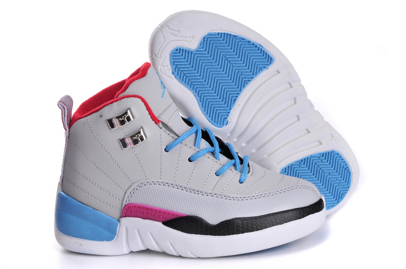 Wholesale Cheap 2017 Kids Air Jordan 12 Miami Vice Grey Blue For Sale - www.wholesaleflyknit.com