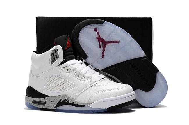 Wholesale Cheap 2017 Kids Air Jordan 5 Cemen White Black-Univeristy Red For Sale - www.wholesaleflyknit.com