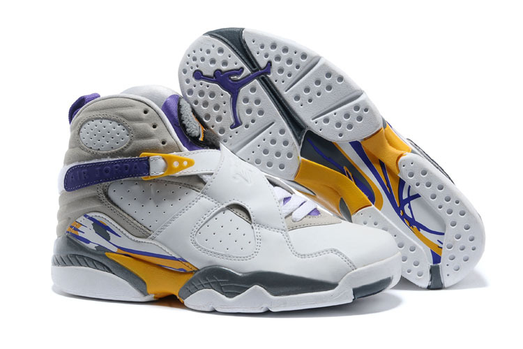 Wholesale Cheap 2017 Girls Air Jordan 8 Retro Kobe Bryant Lakers Home PE For Sale - www.wholesaleflyknit.com