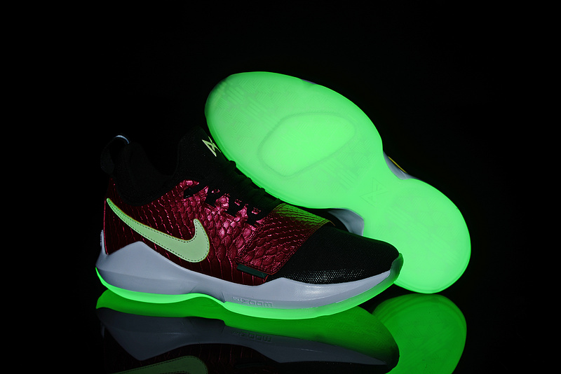 Wholesale Cheap 2017 Glow In The Dark Soles Nike Zoom PG 1 Black Wine Red Fish Scales For Sale - www.wholesaleflyknit.com