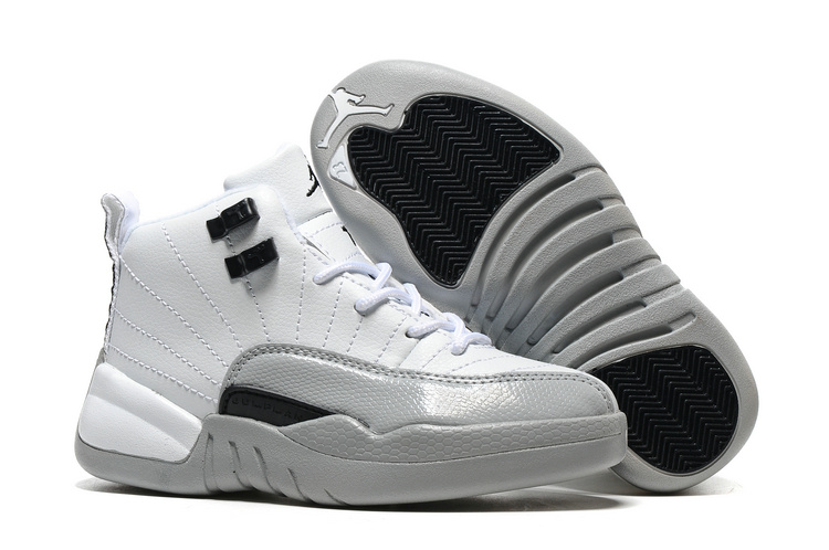 Wholesale Cheap 2017 Kids Air Jordan 12 Barons White Black-Wolf Grey For Sale - www.wholesaleflyknit.com