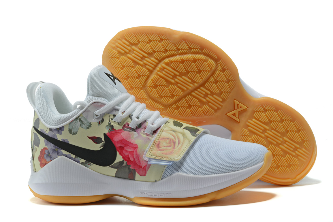 Wholesale Cheap 2017 Nike Zoom PG 1 Floral Print White For Sale - www.wholesaleflyknit.com