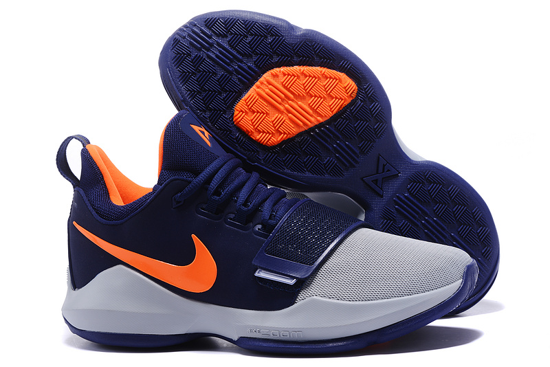 Wholesale Cheap 2017 Nike Zoom PG 1 Navy Blue Wolf Grey Orange For Sale - www.wholesaleflyknit.com