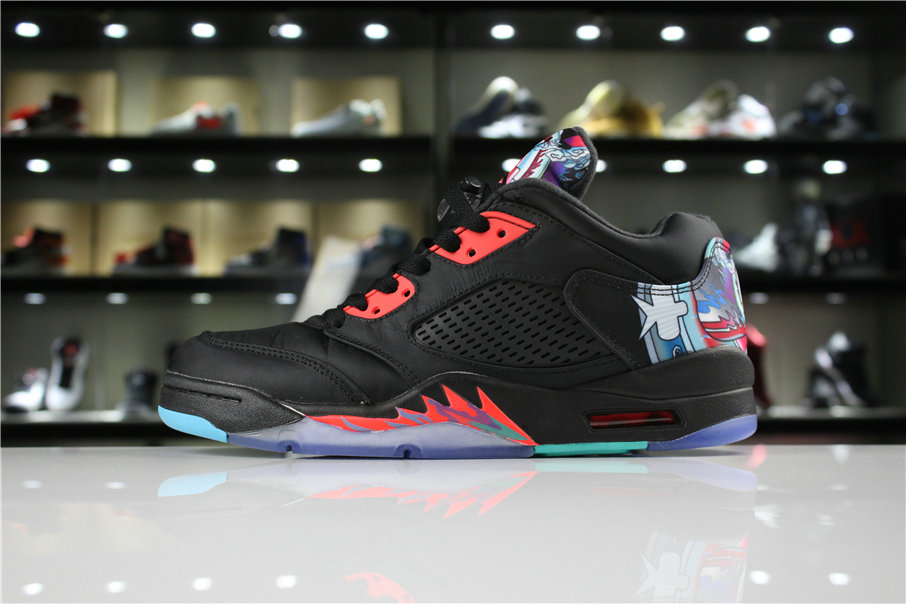 info for d6a77 da680 Cheap Wholesale 2018 Air Jordan 5 Low Chinese New Year Black Bright  Crimson-Beta Blue