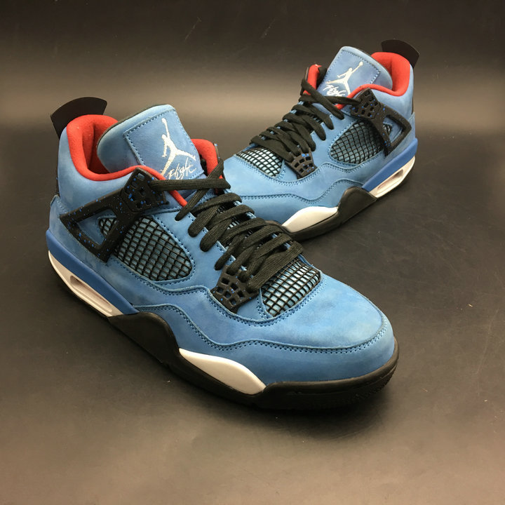 new concept c0310 e28be 2018 Wholesale Cheap Air Jordans Retro 4 Travis Scott Blue Black White Red  - www.