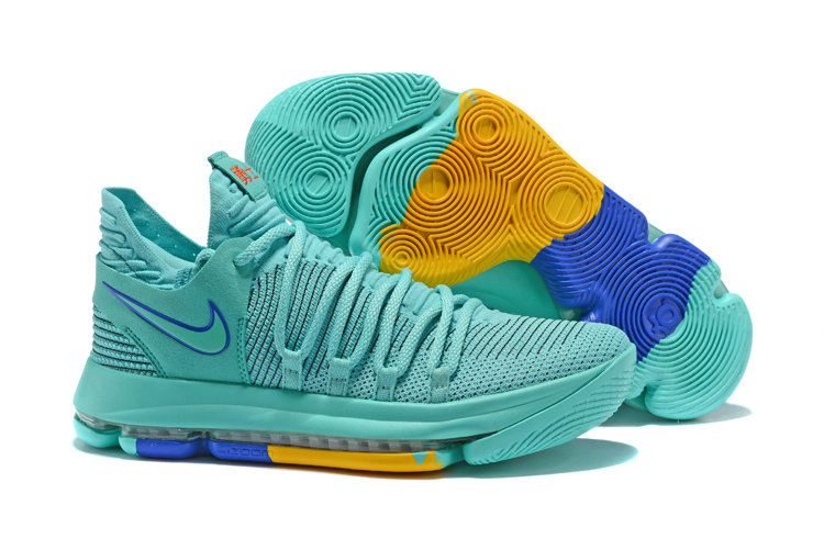 2018 Cheapest Wholesale Nike Kevin Durant 10 X Jade Blue Yellow - www.wholesaleflyknit.com