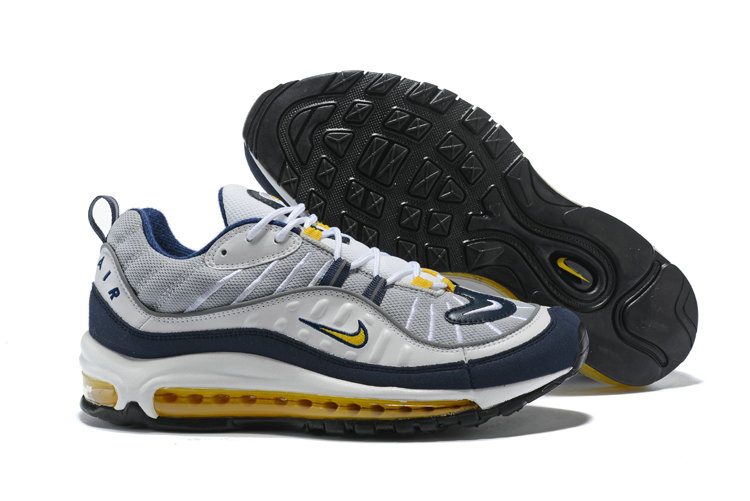 2018 NikeLab Air Max x Cheap Nike Air Max 98 White Tour Yellow-Midnight Navy