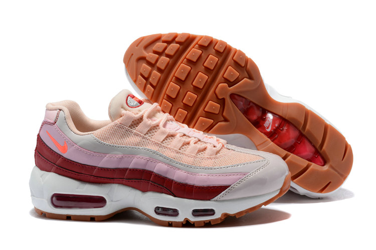 2018 NikeLab Air Max x Cheap Womens Nike Air Max 95 Pink Wine Red White Orange - www.wholesaleflyknit.com