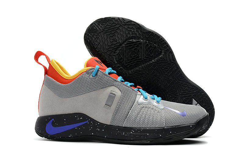 2018 Wholesale Cheap Nike PG 2  Paul George Grey Black Blue Orange Yellow - www.wholesaleflyknit.com