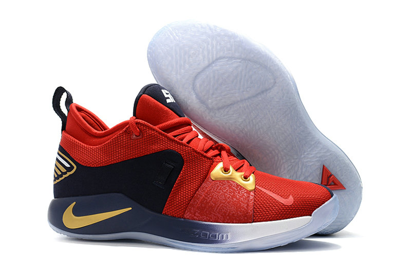 5cdbc25665b 2018 Wholesale Cheap Nike PG 2 Paul George Red Gold White Black -  www.wholesaleflyknit. Loading zoom