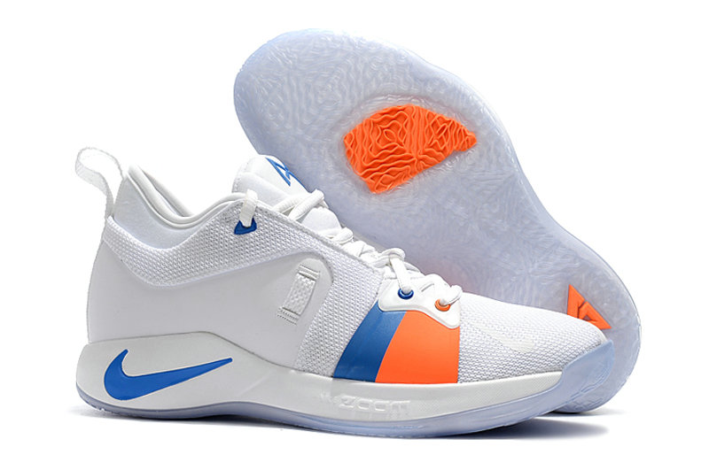 2018 Wholesale Cheap Nike PG 2  Paul George White Blue Orange - www.wholesaleflyknit.com