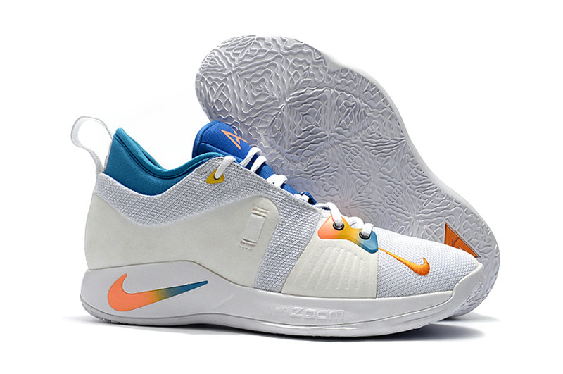 2018 Wholesale Cheap Nike PG 2  Paul George White Orange Blue - www.wholesaleflyknit.com