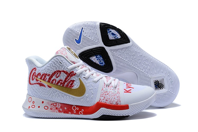 Wholesale Cheap 2018 Custom Nike Kyrie 3 Coca-Cola White Red Blue For Sale - www.wholesaleflyknit.com