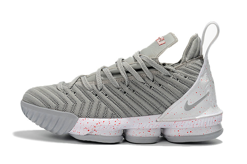 Cheap Wholesale 2018 Latest Nike LeBron 16 Wolf Grey White-Red Mens Size For Sale - www.wholesaleflyknit.com