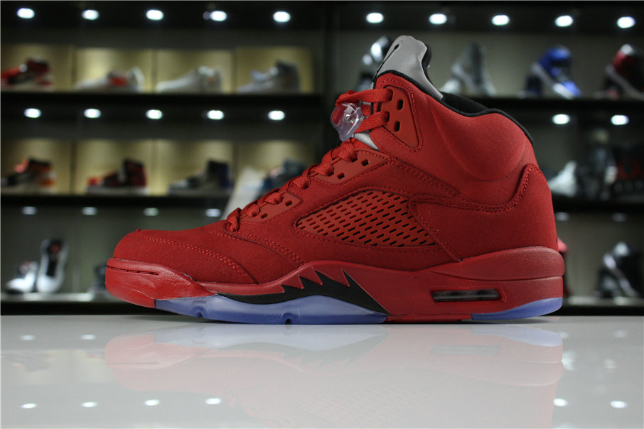 Cheap Wholesale 2018 Mens Air Jordan 5 Red Suede University Red Black 136027-602 - www.wholesaleflyknit.com