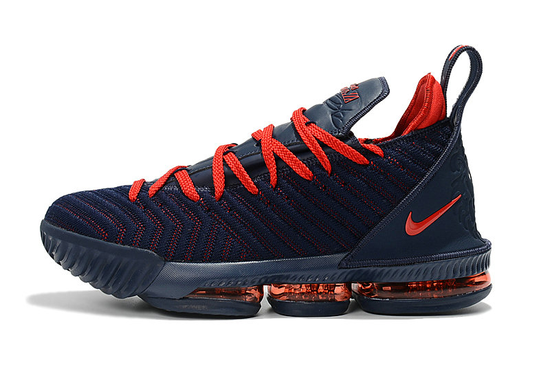 Cheap Wholesale 2018 New Release Nike LeBron 16 Navy Blue University Red Basketball Shoes - www.wholesaleflyknit.com