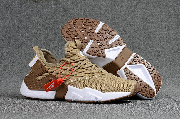 13f135af76e8 2018 Nike Air Huarache Flyknit 3D Mens Brown Cream White Cheapest Wholesale  Sale - www.
