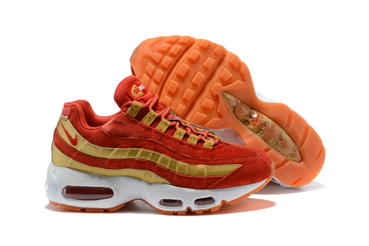 2018 Nike Air Max 95 SneakerBoots Red Gold White Cheapest Wholesale Sale - www.wholesaleflyknit.com