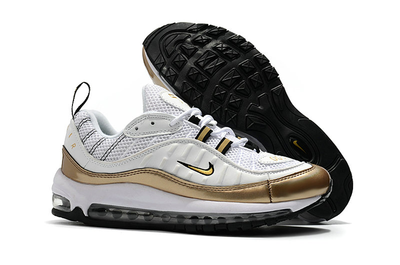 2018 Nike Air Max 98 Colorways Gold White Cheapest Wholesale Sale - www.wholesaleflyknit.com