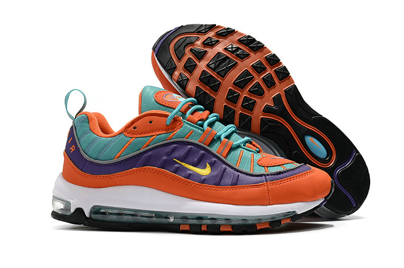 2018 Nike Air Max 98 Colorways Orange Purple Green White Cheapest Wholesale Sale - www.wholesaleflyknit.com