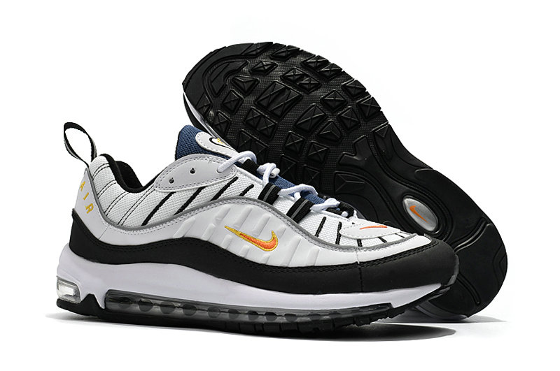 2018 Nike Air Max 98 Colorways White Black Gold Cheapest Wholesale Sale - www.wholesaleflyknit.com